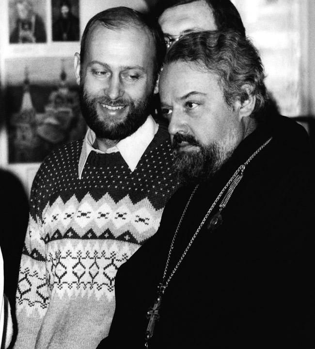 Сергей Бычков и о. Александр Мень, 1985 год