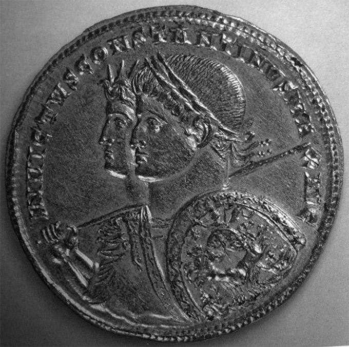 Илл. 33. Монета с изображением Константина Великого на фоне Александра Македонского. Париж, Французская национальная библиотека, кабинет медалей