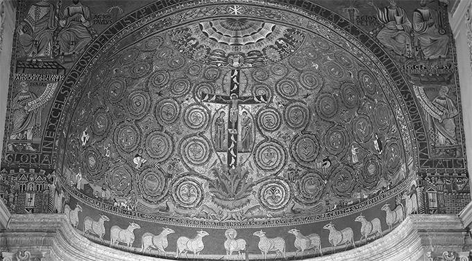 Илл. 34. «Распятие». Мозаика. Конха апсиды. Базилика Сан-Клементе. 1121 г. Рим